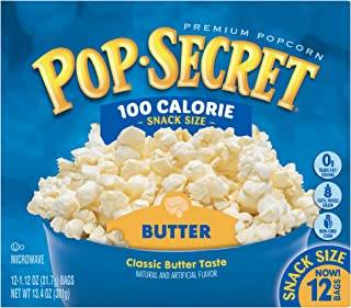 Pop Secret Popcorn, Butter 100 Calorie Microwave Bags, 12 Count Box (Pack of 4)