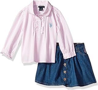 يو اس بولو اسن طقم تنورة توب ومجموعة تنورة تنورة قصيرة للفتيات