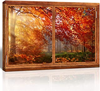 The Melody art - Brown Window Looking Out Into Orange Fallen Leaves with Sunlight in Autumn - Canvas Wall Art Home Decor - 16x24 inches