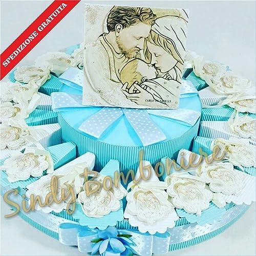 Kuchen Bonboniere Leaf Sacramento Heilige Familie Versand inklusive Geburt Taufe Junge Torta da 35 fette