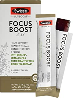 Swisse Ultiboost Focus Boost Jelly Sticks, Blueberry Cherry | Supports Brain Function, Memory Recall, & Concentration | Ce...