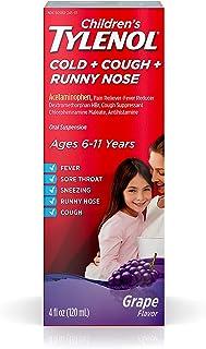 Children's Tylenol Cold + Cough + Runny Nose & Fever Medicine with Acetaminophen, Grape, 4 fl. oz
