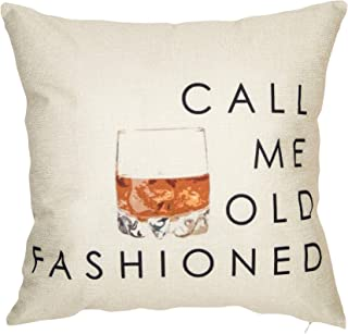 Softxpp Call Me Old Fashioned Whisky Wine Funny Quote Saying Throw Pillow Cover Red Christmas Sign Winter Holiday Decor Cushion Case Decorative for Sofa Couch 18
