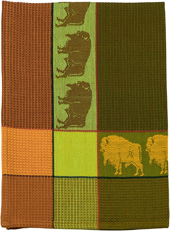 Traders And Company 100 Cotton Rust Cocoa Green 20 X28 Dish Towel Buffalo Fern
