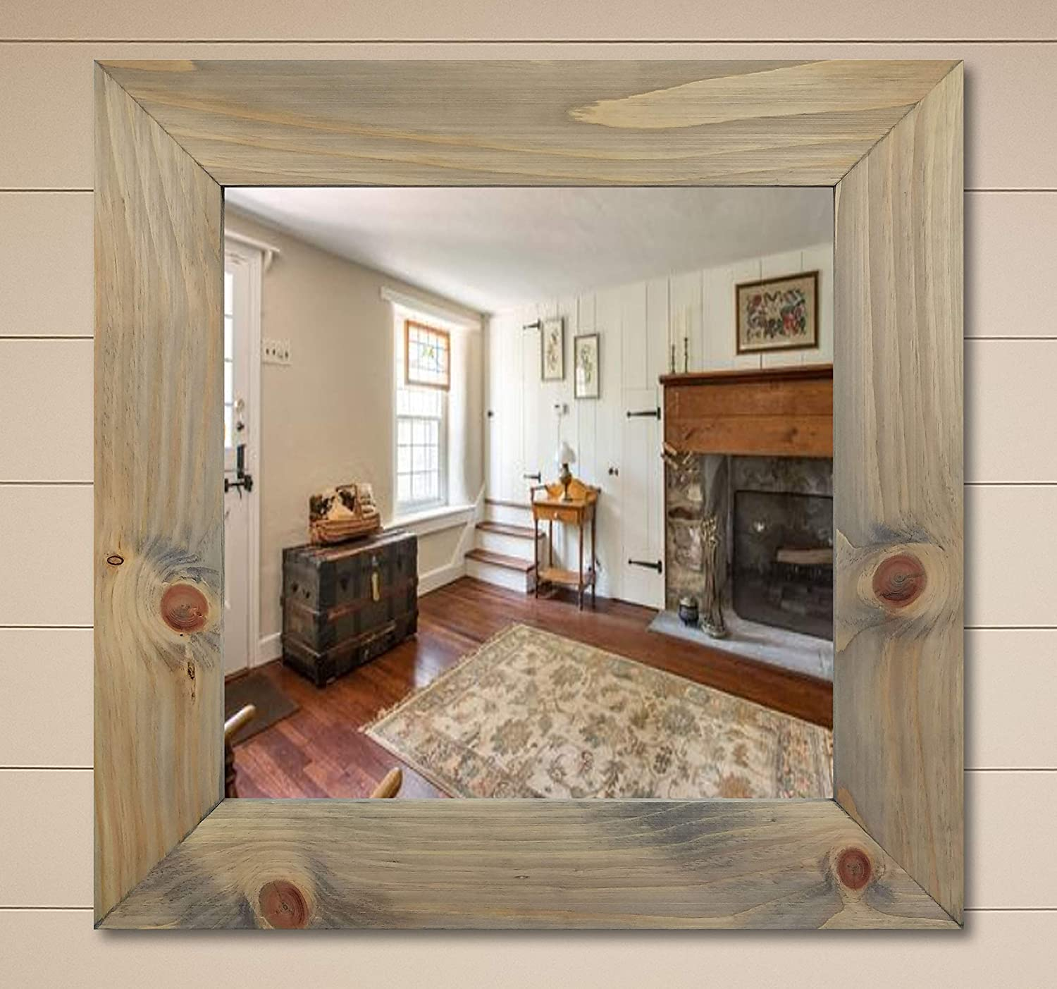 Amazon Com Custom Square Shiplap Rustic Wood Framed Mirror 20 Stain Colors Mirror For Wall Hanging Mirror Large Mirror Decorative Mirror Bathroom Mirror Bedroom Mirror Office Mirror Over Desk Mirror Handmade Products