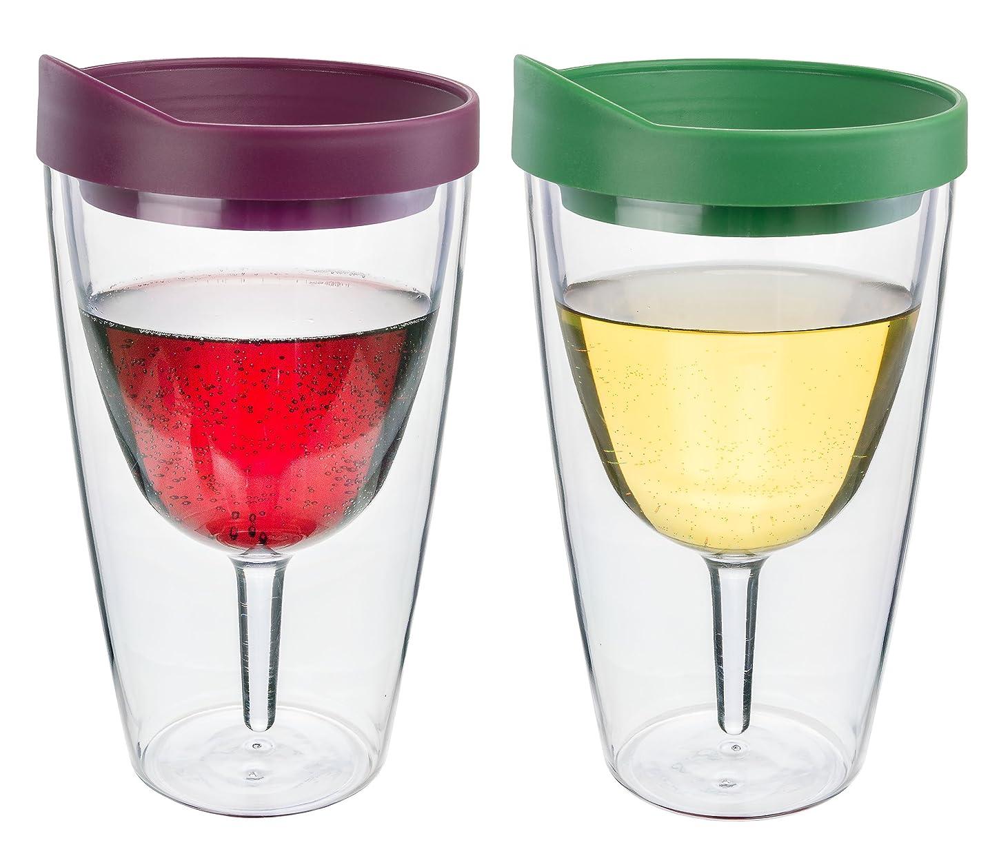 アパル算術涙Southernホームウェアワインタンブラー?–?16オンス絶縁Vino二重壁アクリルメルローwith and Verde Drink Through蓋ワイン2?Go 。