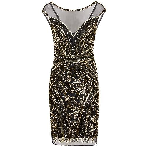 869c0d347e63 Vijiv 1920s Short Prom Dresses V Neck Inspired Sequins Cocktail Flapper  Dress