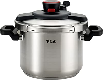 T-fal P45007 Clipso Stainless Steel Pressure Cooker Cookware, 6.3-Quart, Silver