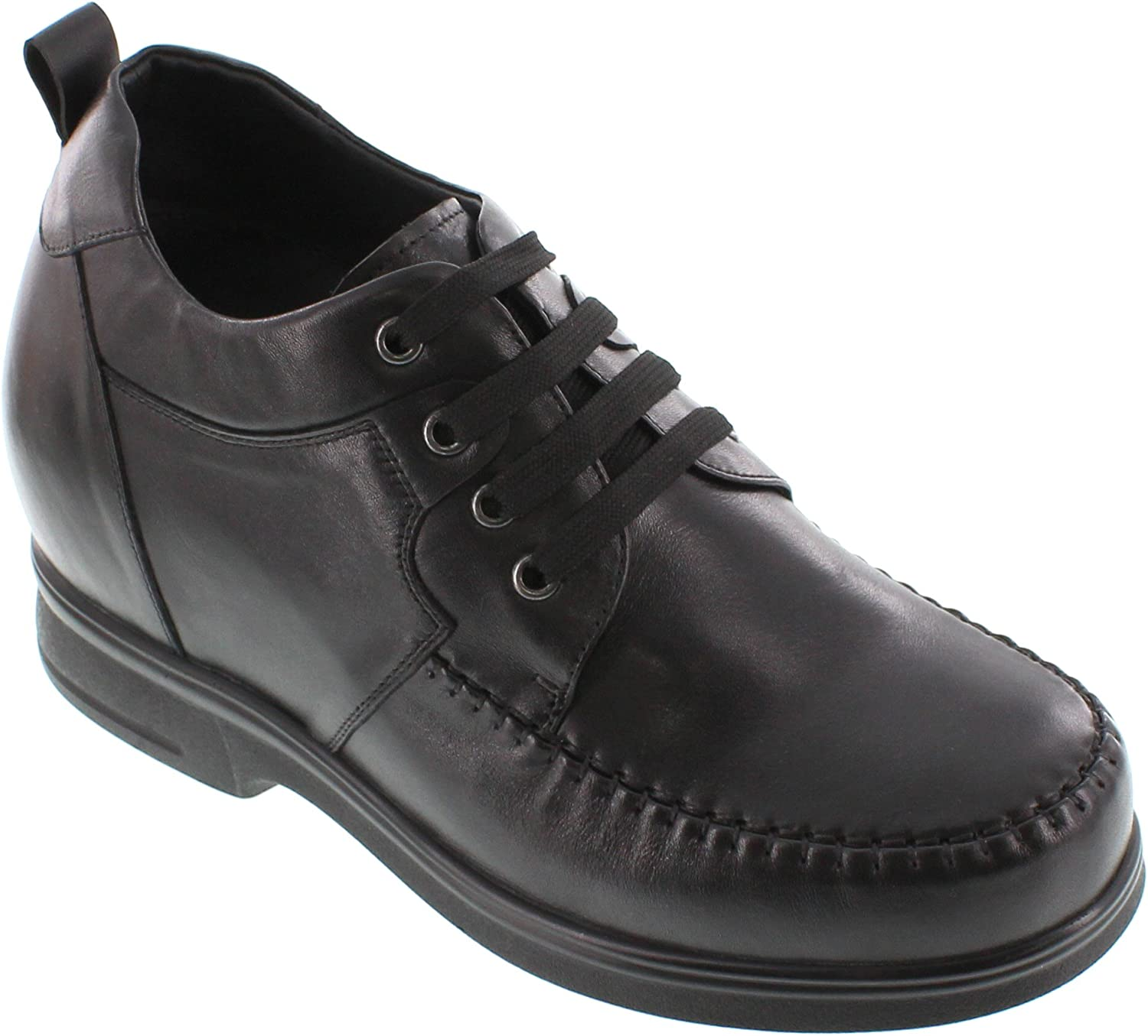 CALTO - G61303-4.4 Inches Taller - Size 9 D US - Height Increasing Elevator shoes (Black Leather Lace-up Boot)
