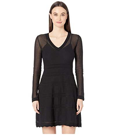 M Missoni Long Sleeve Geometric Jacquard Short Dress (Black Beauty) Women