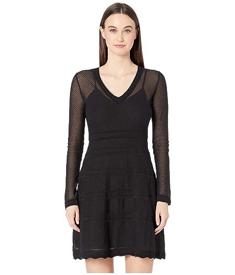 M Missoni Long Sleeve Geometric Jacquard Short Dress