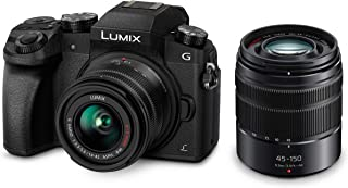 Panasonic LUMIX DMCG7 4K Touch Screen Camera + 14-42mm F3.5-5.6 + 45-150mm F4.0-5.6 Lens, Black (DMC-G7WGN-K)