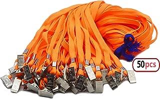 50pcs Orange Lanyard Clip Bulk 32-inch Neck Flat Woven Cotton Lanyard with Bulldog Clips Orange Lanyards for id Badges