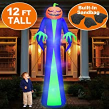 12Ft Giant Halloween Inflatables Pumpkin Halloween Blow Up Decorations Inflatables with LED Light Sandbags Stakes Strings Halloween Inflatables Outdoor Decorations Inflatable Holiday Yard Decorations