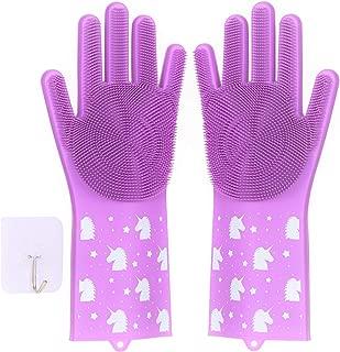 Silicone Dishwashing Gloves For Washing Dishes – 1 Pair of Unicorn Print Kitchen and Home Cleaning Scrubbing Magic Reusable Glove, Plus Self-Adhesive Hanging Hook (Purplish Pink)