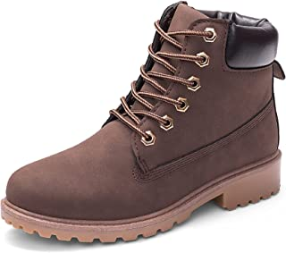 DADAWEN Women's Lace Up Low Heel Work Combat Boots Waterproof Ankle Bootie Brown US Size 7