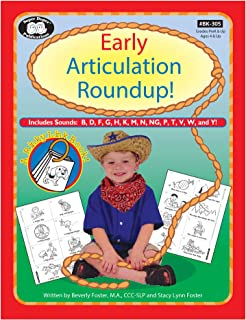 Early Articulation Roundup! Fun Sheets for B, D, F, G, H, K, M, N, NG, P, T, V, W, and Y! Workbook