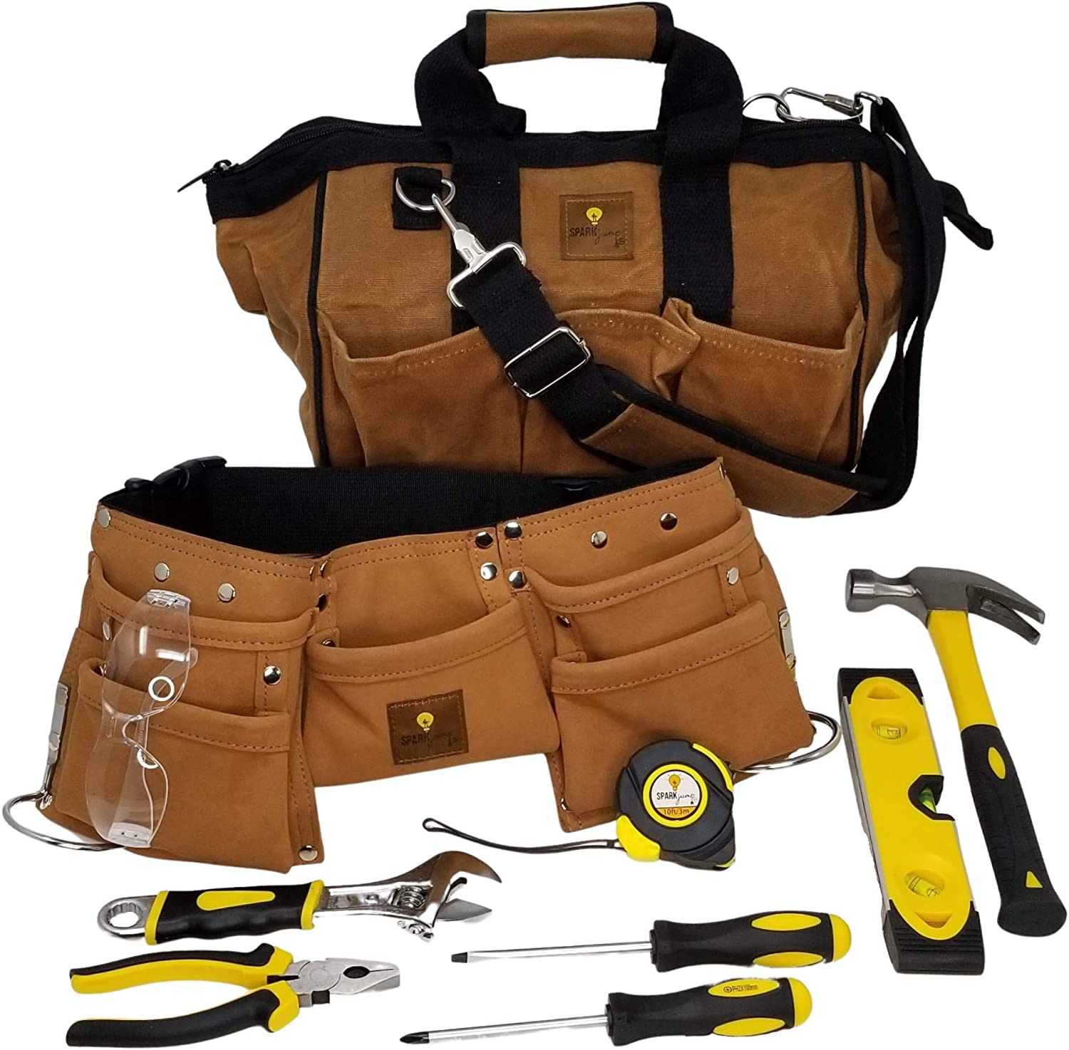 SparkJump Deluxe Kids Tool Save money Set Kit Durabl Real with Hand Tools Oklahoma City Mall -