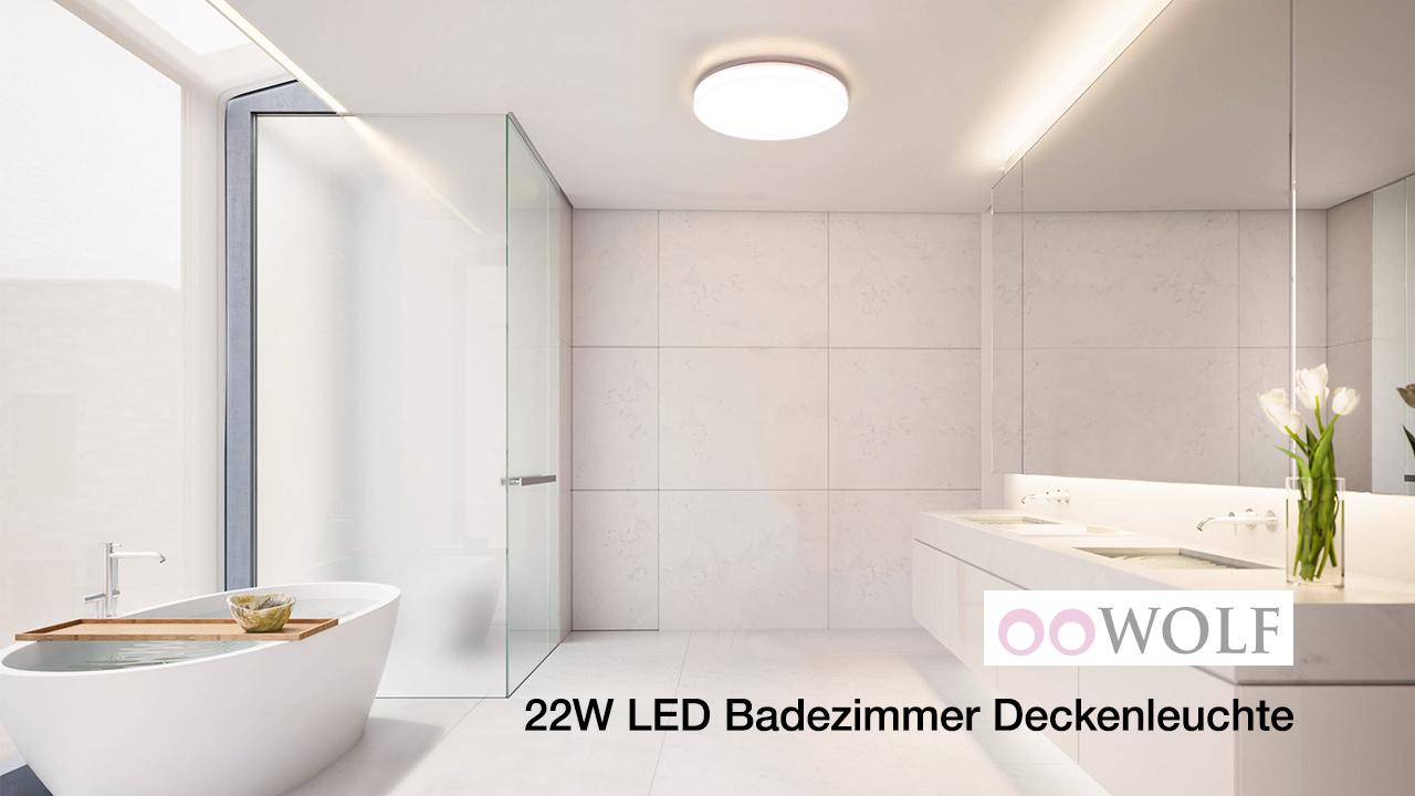 Deckenlampe badezimmer, OOWOLF Dadezimmer Lampe Runde 20W/20K ...
