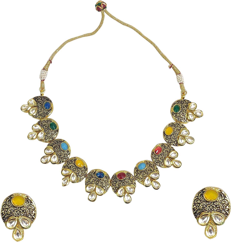 Babosa Sakhi Al OFFicial site sold out. Multi Color Necklace Kund Navratan Antic Set Collar
