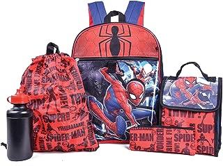Marvel Spiderman Backpack Combo Set - Marvels Spiderman 5 Piece Backpack School Set (Red/Blue)