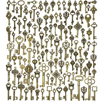 69 Pcs Retro Bronze Metal Key Charm Pendant Accessories DIY Metal Ornaments Jewelry Accessories Necklace Clothing Notebook Making Supplies