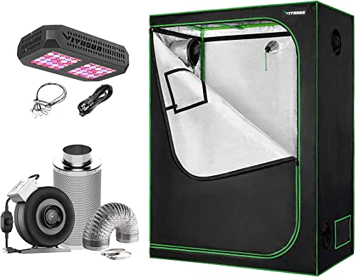 high quality VIVOSUN lowest 48''x24''x60'' outlet online sale Mylar Hydroponic Grow Tent with 4 Inch Inline Fan Package, 300W LED Grow Light, for Indoor Plants Growing outlet sale