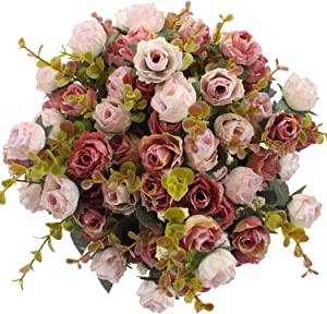 Duovlo 7 Branch 21 Heads Artificial Flowers Bouquet Mini Rose Wedding Home Office Decor,Pack of 4 (Pink)