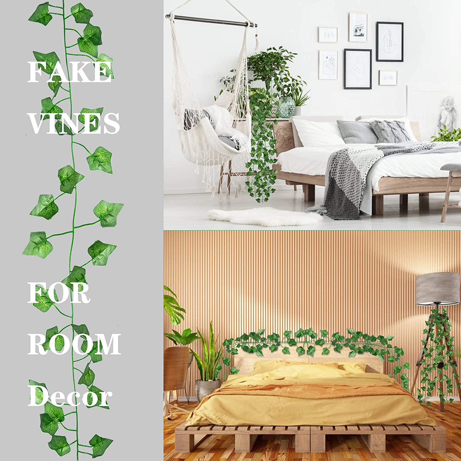 20 Pack 20 Feet Fake Vines for Bedroom Decor Aesthetic Greenery Ivy Leaves  Garland Artificial Hanging Plants for Wedding Wall Party Home Decor