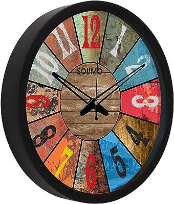 Amazon Brand - Solimo 12-inch Plastic & Glass Wall Clock - ICON (Silent Movement, Black Frame)