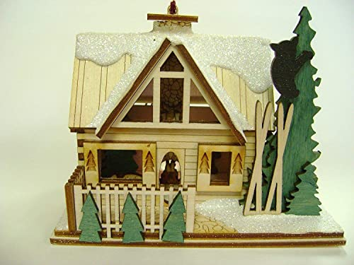 Ginger Cottages - Santa's Ski Lodge GC126, Miniature Collectable Building for Christmas and Holiday displays. Wood Ta...
