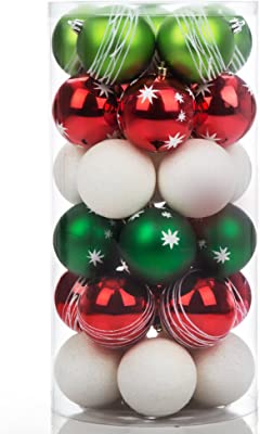 Ball Ornament Red Green and White