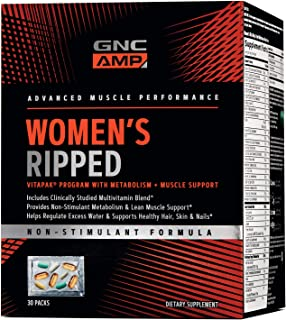GNC Pro Performance AMP Womens Ripped Vitapak with Metabolism Muscle Support, 30 Packs