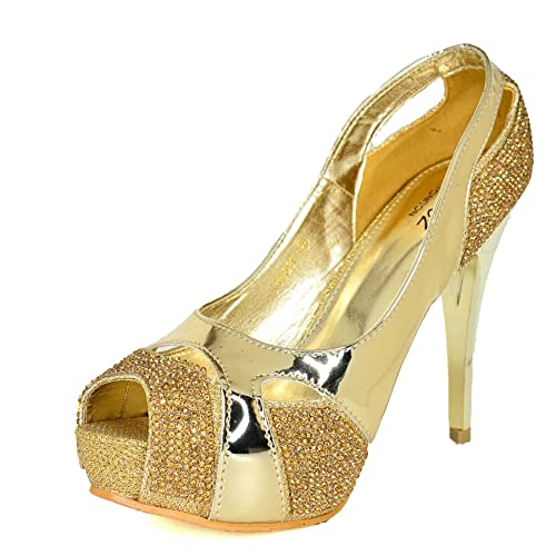 3000e4281177 WeHeartShoes Womens Metallic Look Stiletto Peep Toe Shoes,Slip on High Heel  Pumps, Size