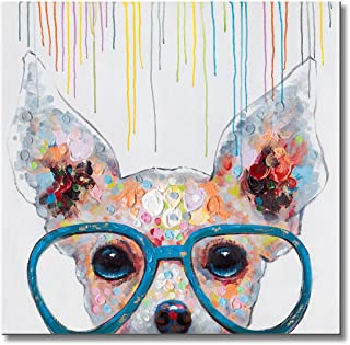 FLY SPRAY 1 Panel Framed 100% Hand Painted Oil Paintings Canvas Wall Art Colorful Dog with Glasses Animal Modern Abstract Artwork Painting for Living Room Bedroom Office Home Decoration