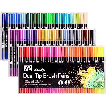 Laconile Feutres,72 Feutres Pinceaux,Feutre Coloriage pour Dessin Peinture Coloriage Adulte(noir)