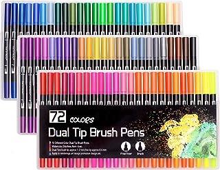 72 kolorowe pisaki pędzelkowe z dwoma końcówkami, flamastry do malowania, dla dorosłych i dzieci, malowanie, szkicowanie, ...