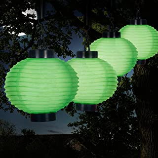 Pure Garden 50-19-G Outdoor Solar Chinese LED Lanterns, Green