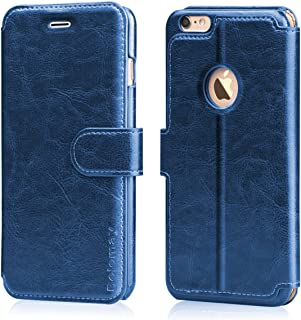 Belemay iPhone 6S Wallet Case, iPhone 6 Case, Genuine Cowhide Leather Case, Flip Folio Book Cover Magnetic Closure, Card Holder Slots, Kickstand, Cash Pockets Cpmpatible iPhone 6 / iPhone 6s, Blue