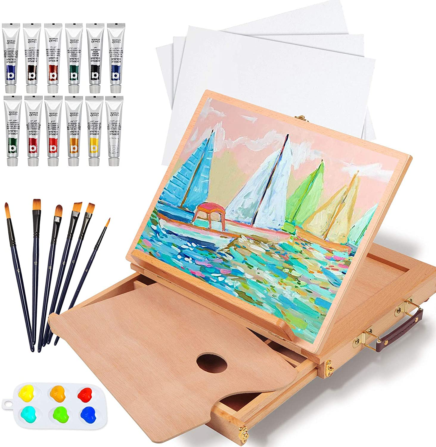 Falling in Art Direct store Beechwood Tabletop Easel Set Tubes 12 with Acryli Ranking TOP14