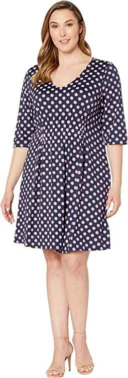Plus Size Pena 3/4 Sleeve Above Knee Dress