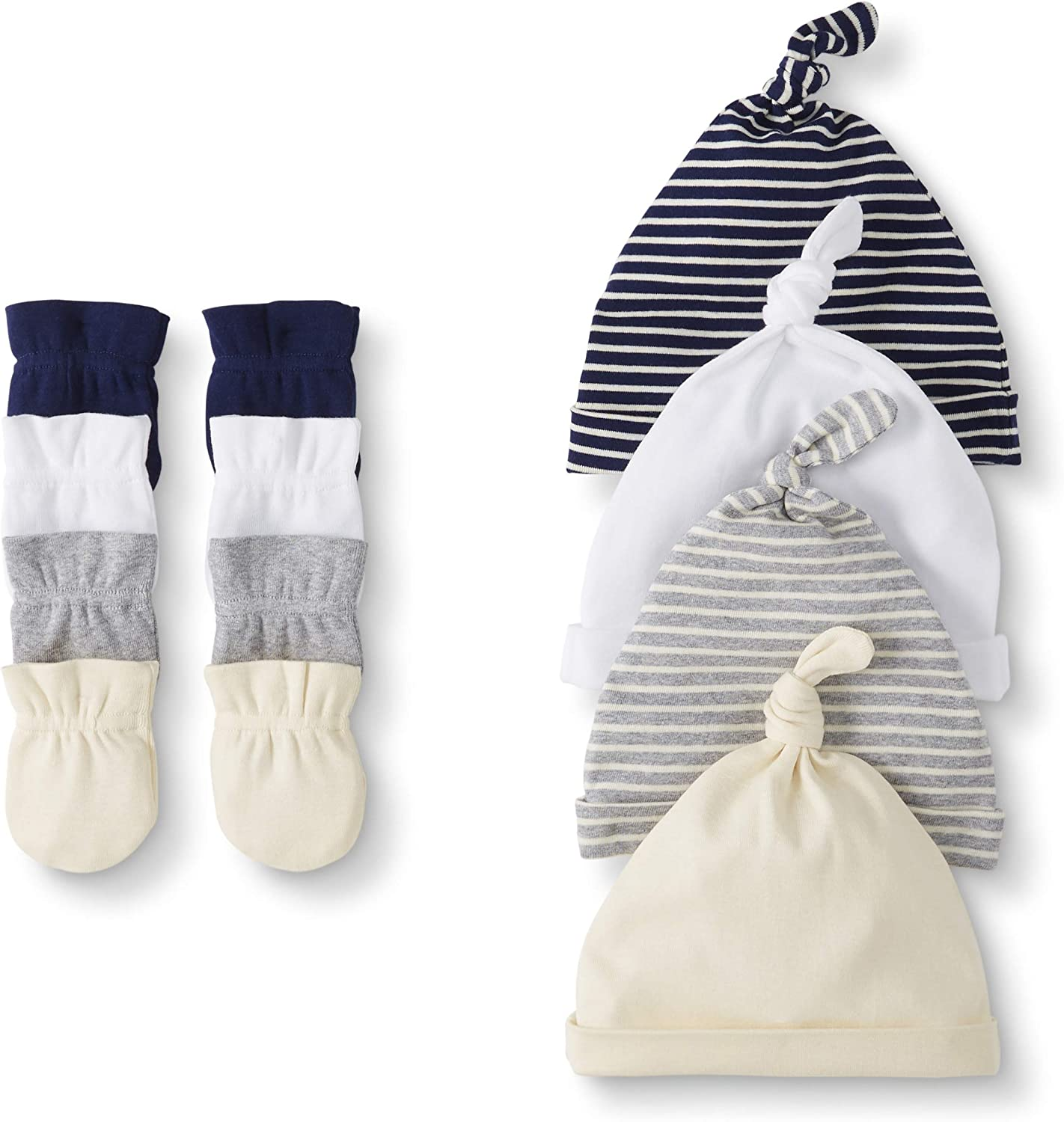 Moon and Back by Hanna Andersson Baby Boys' and Girls' 4-Pack Organic Cotton Cap and Mitten Set