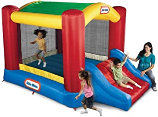 Little Tikes Jump `n Slide Bouncer with Arched Canopy Overhead Cover, Plus Heavy Duty Blower, Stakes, Repair Patches, and ...
