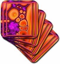 3dRose cst_23495_3 DANCING with THAT HIPPIE CHICK Retro Hippie Flowerpower Psychedellic Fractal Orange Purple Ceramic Tile Coasters, Set of 4