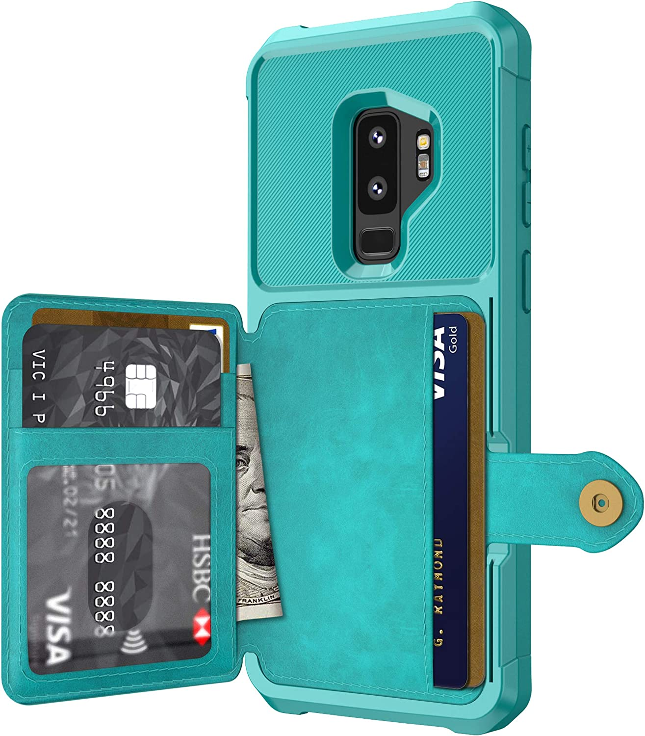 Galaxy S9 Case, Sumsung S9 Wallet Flip Leather Kickstand Fit Magnetic Wireless Car Charger Mount Slim Durable Shockproof Protective Case Cover with Card Holder (Turquoise)