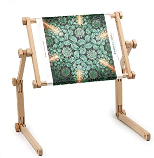 Needlework Table and Lap Hands-Free Stand with Adjustable Frame Made of Organic Beech Wood Tapestry Cross Stitch Embroidery Frame Holder (25x32 cm (9.8