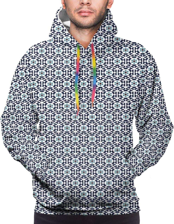 Men's Hoodies Sweatshirts,Oriental Geometric Pattern with Floral Motif