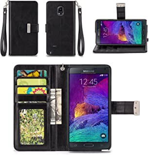 IZENGATE Samsung Galaxy Note 4 Wallet Case - Executive Premium PU Leather Flip Cover Folio with Stand (Black)