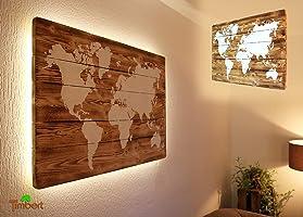 WELTKARTE auf HOLZ mit LED Beleuchtung (optional) Wandbild Handgefertigt Rustikal Weiße Kreidefarbe Ländlich...