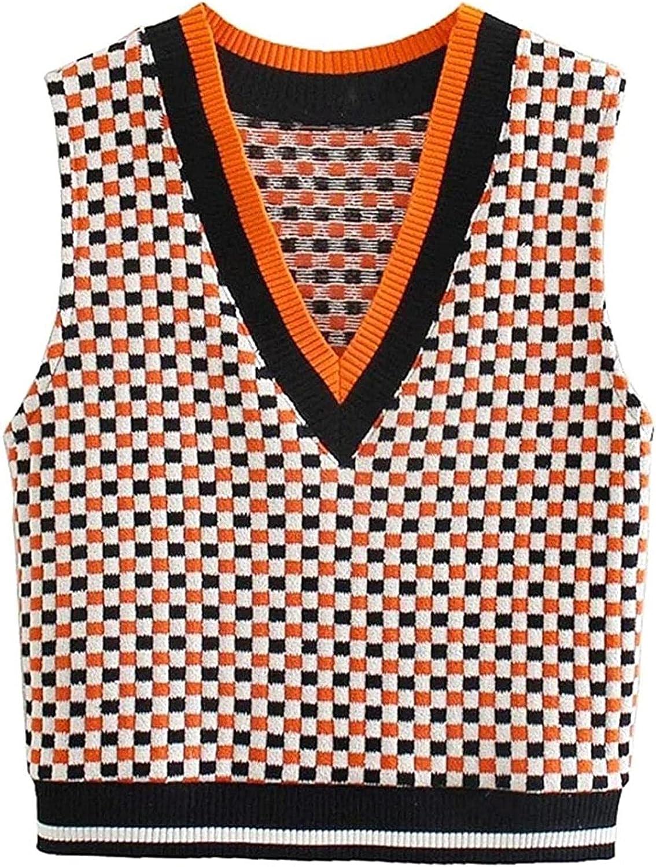Free Shipping New Women Vintage V Neck Contrast Knitting Sweater Femal Plaid Color Arlington Mall